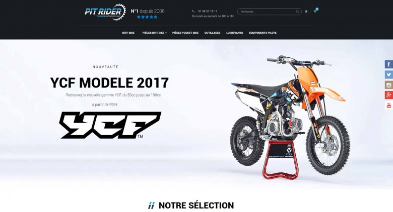 Pitrider, Le plus grand magasin de Pit bike depuis 2006