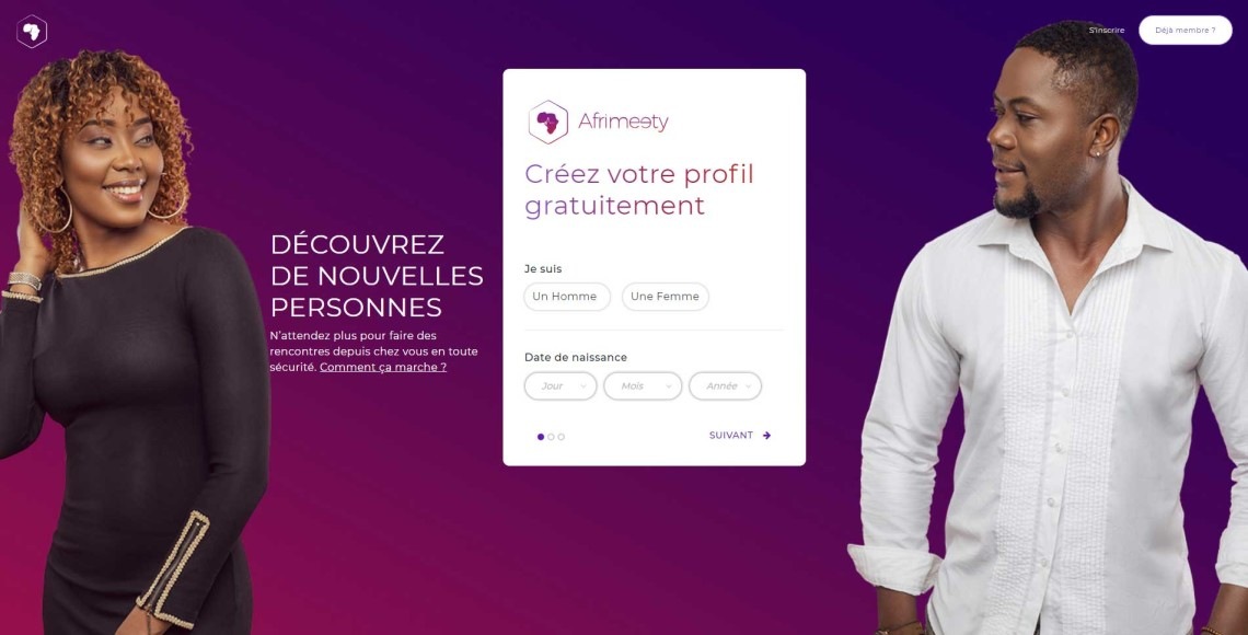 Homepage du site de rencontre africain Afrimeety