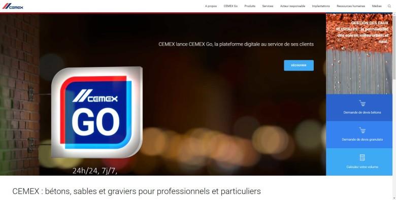 Homepage du site internet Cemex